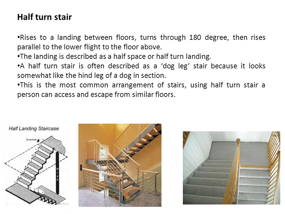 Half turn stair Rises to a landing between floors, turns through 180 degree, then rises parallel to the lower flight to the floor above.