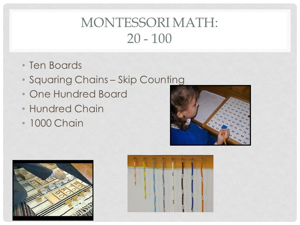 Montessori math: 20 - 100 Ten Boards Squaring Chains – Skip Counting