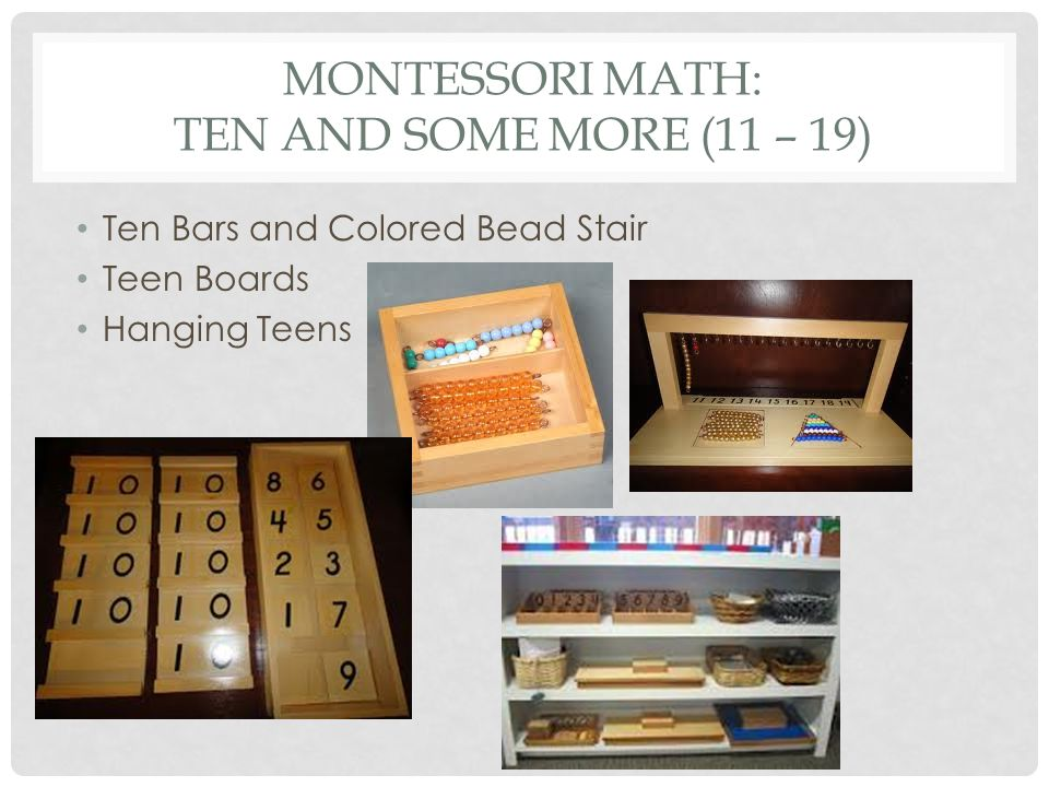 Montessori math: Ten and some more (11 – 19)