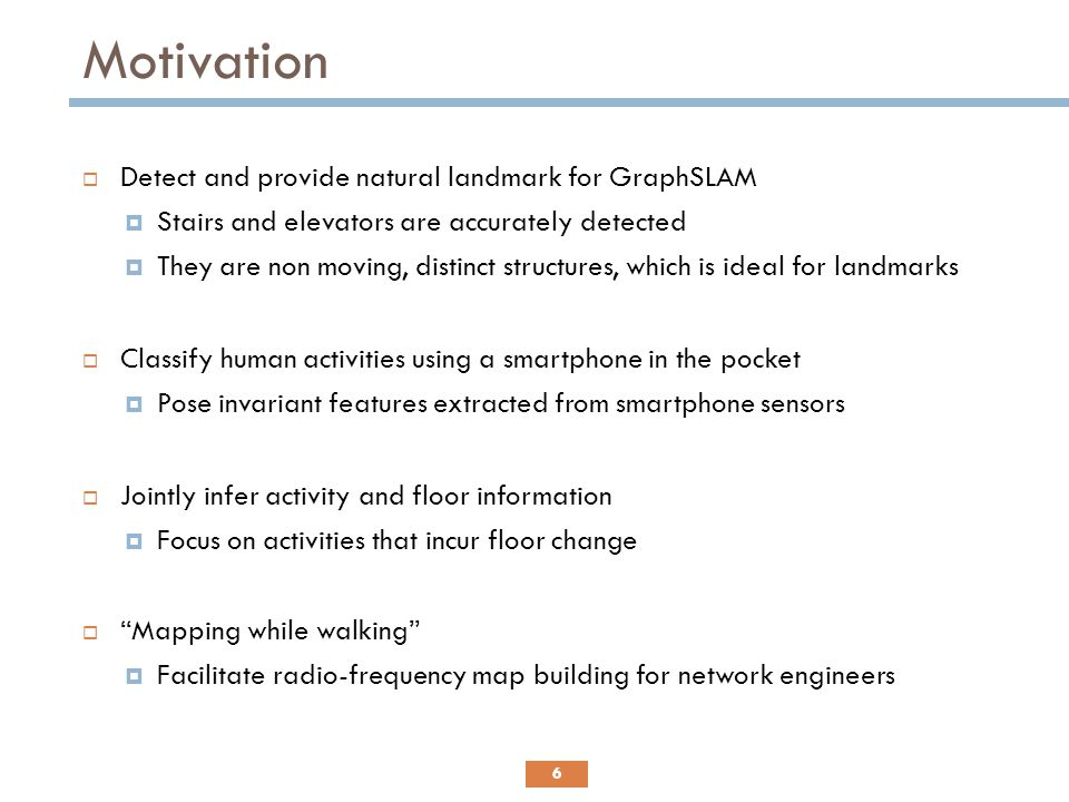 Motivation Detect and provide natural landmark for GraphSLAM
