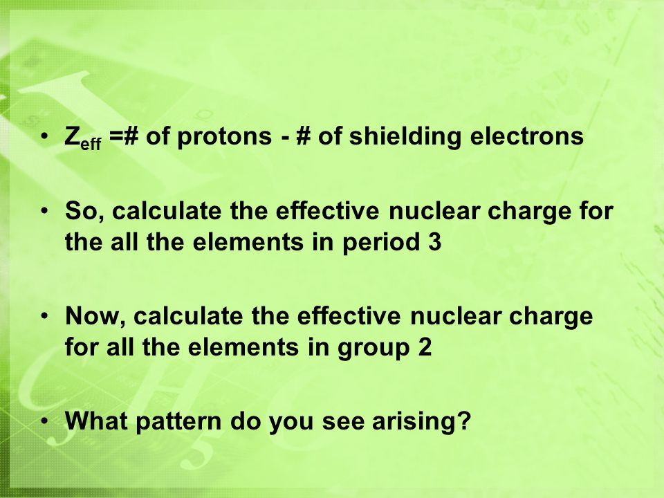 Zeff =# of protons - # of shielding electrons