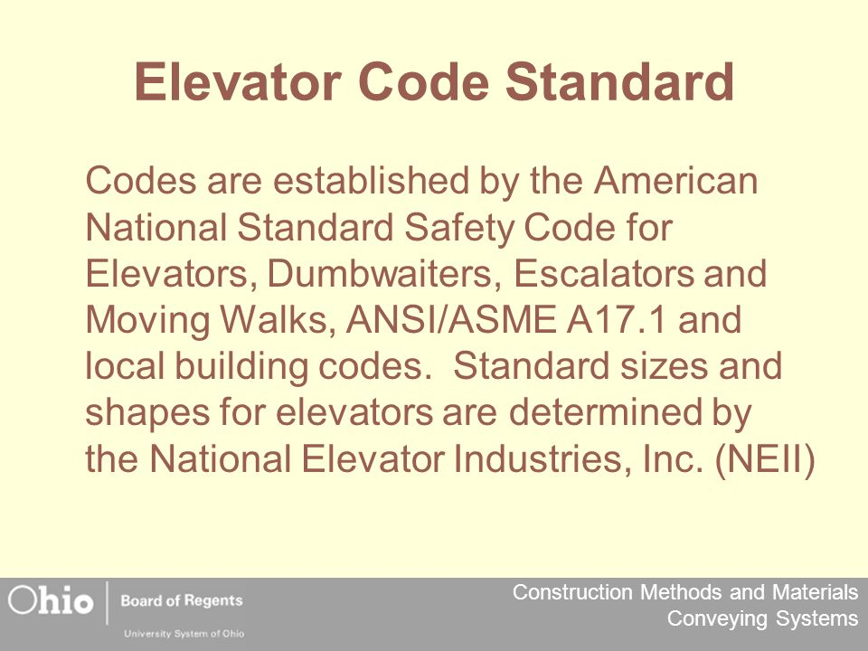 Elevator Code Standard