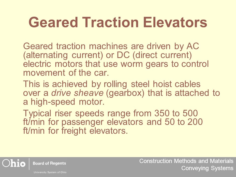 Geared Traction Elevators