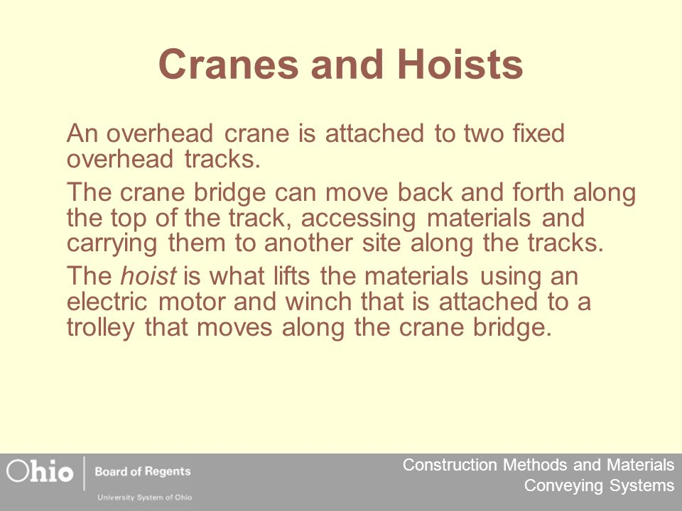 Cranes and Hoists An overhead crane is attached to two fixed overhead tracks.
