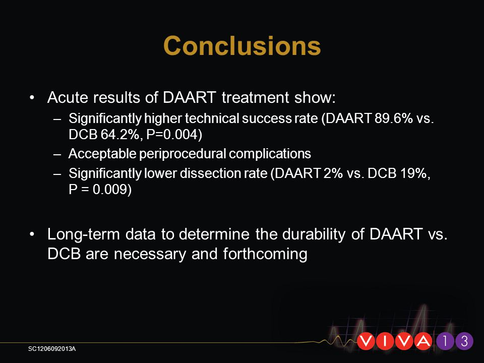 Conclusions Acute results of DAART treatment show: