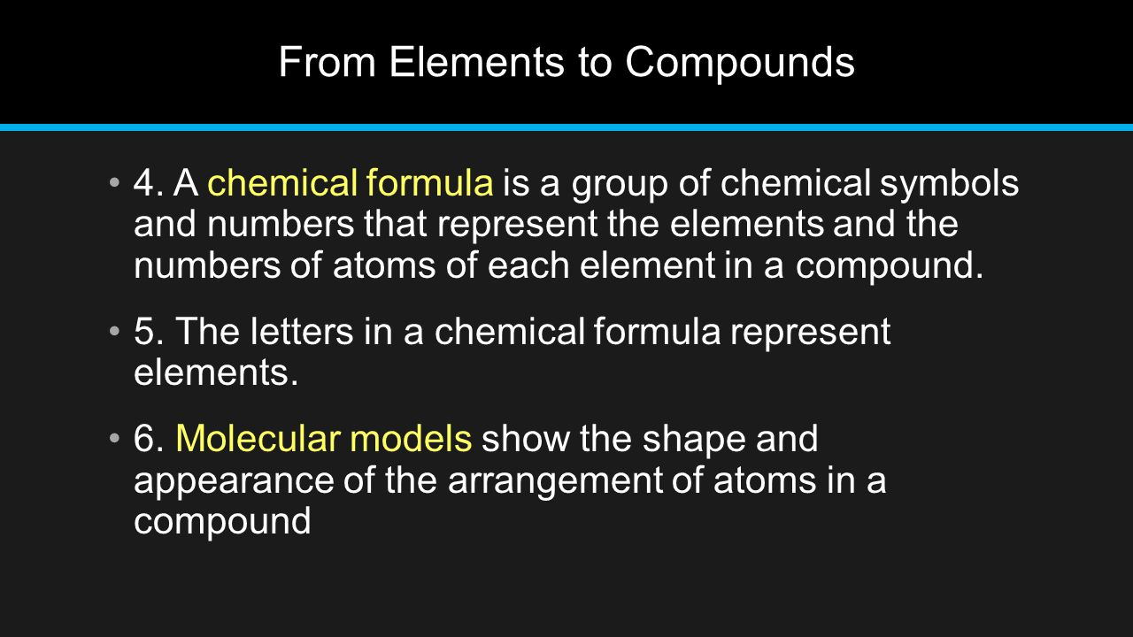From Elements to Compounds