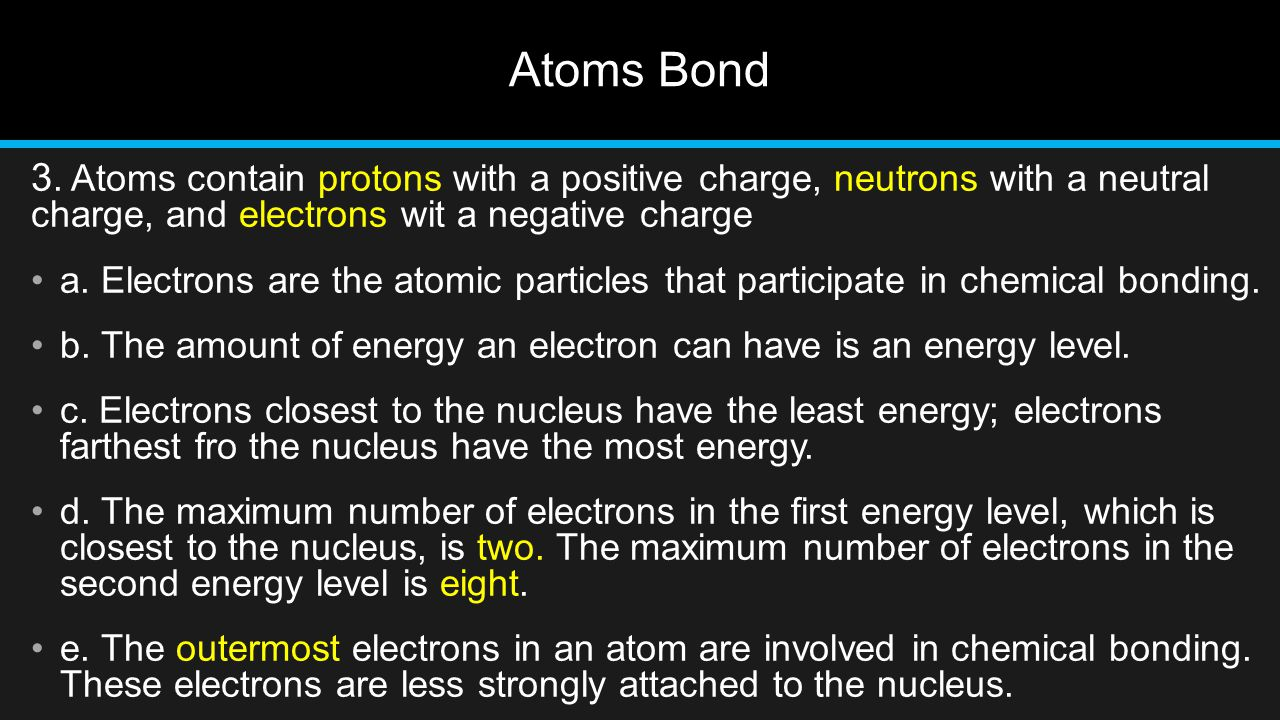 Atoms Bond 3. Atoms contain protons with a positive charge, neutrons with a neutral charge, and electrons wit a negative charge.