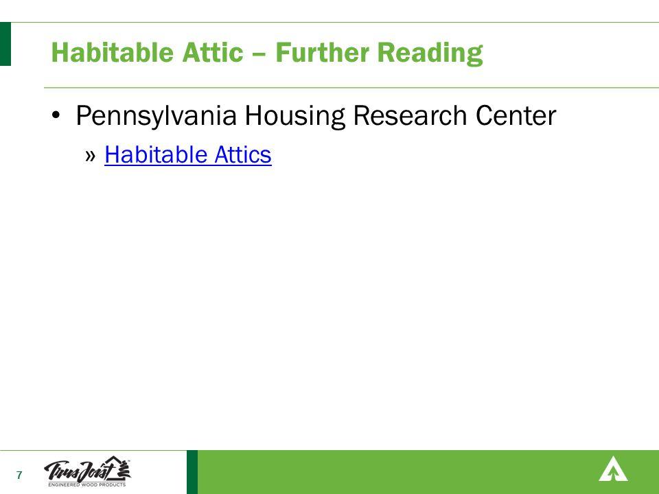 Habitable Attic – Further Reading