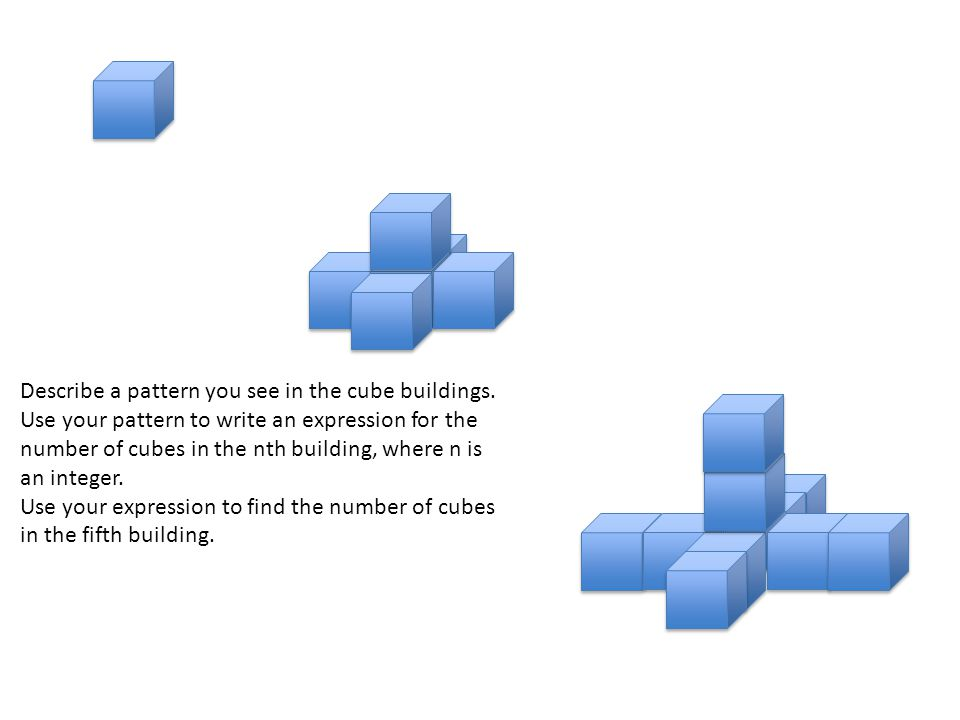 Describe a pattern you see in the cube buildings.