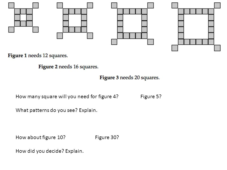 How many square will you need for figure 4 Figure 5