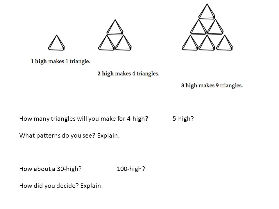 How many triangles will you make for 4-high 5-high