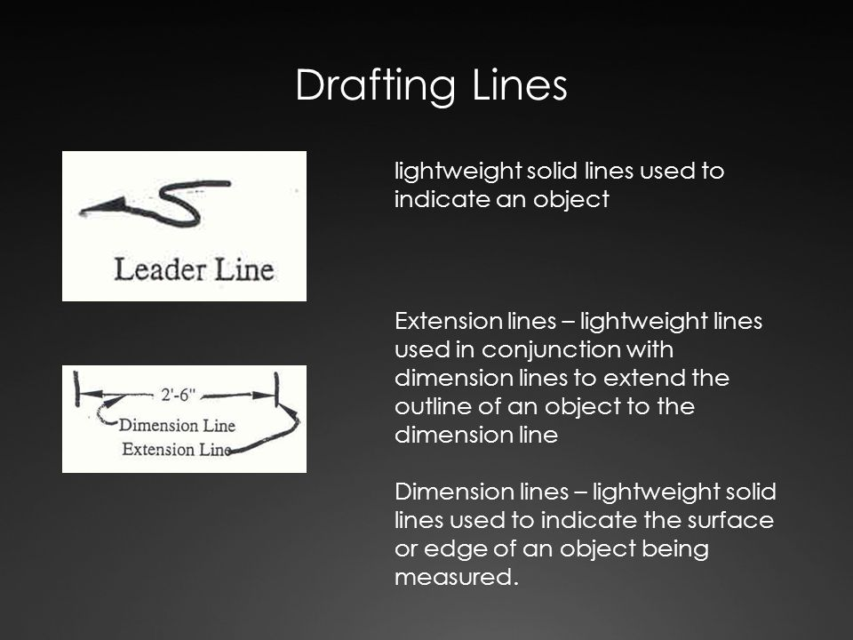 Drafting Lines lightweight solid lines used to indicate an object