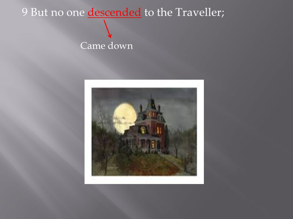 9 But no one descended to the Traveller;