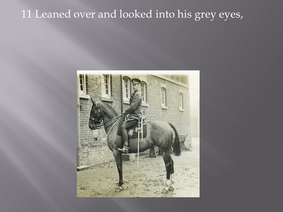 11 Leaned over and looked into his grey eyes,