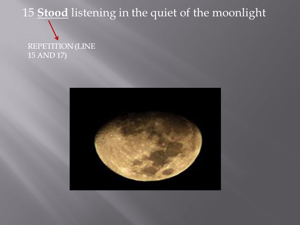 15 Stood listening in the quiet of the moonlight