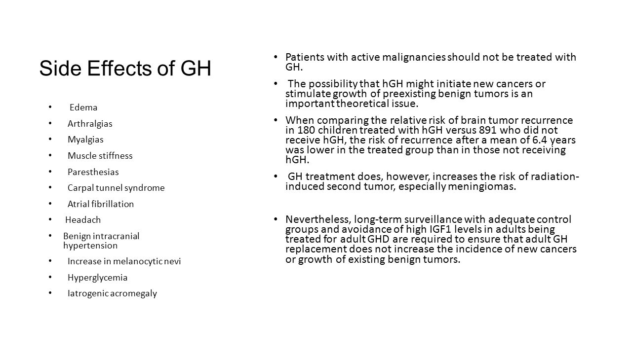Side Effects of GH Patients with active malignancies should not be treated with GH.