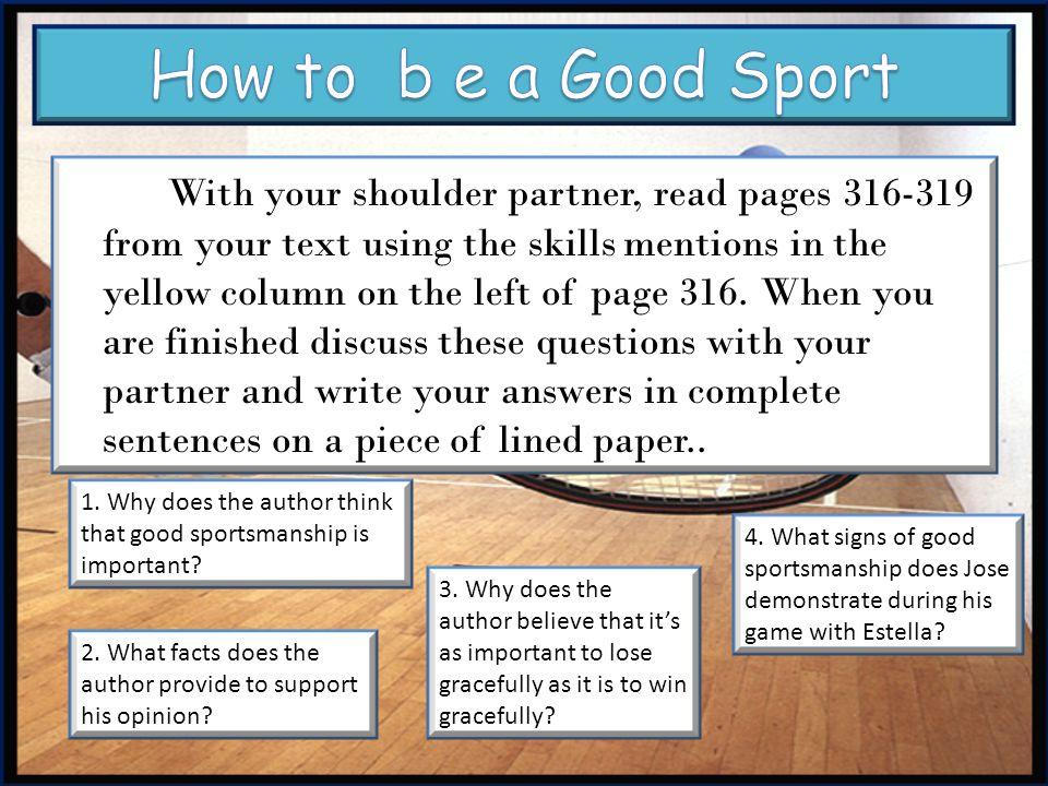 How to b e a Good Sport