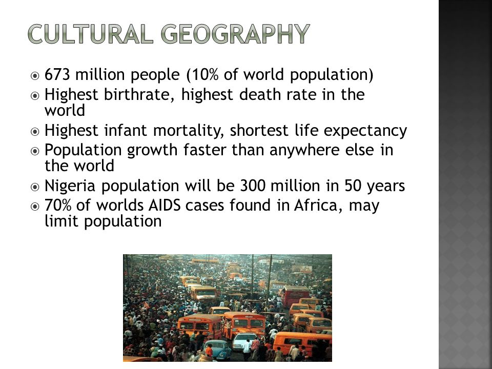 Cultural Geography 673 million people (10% of world population)