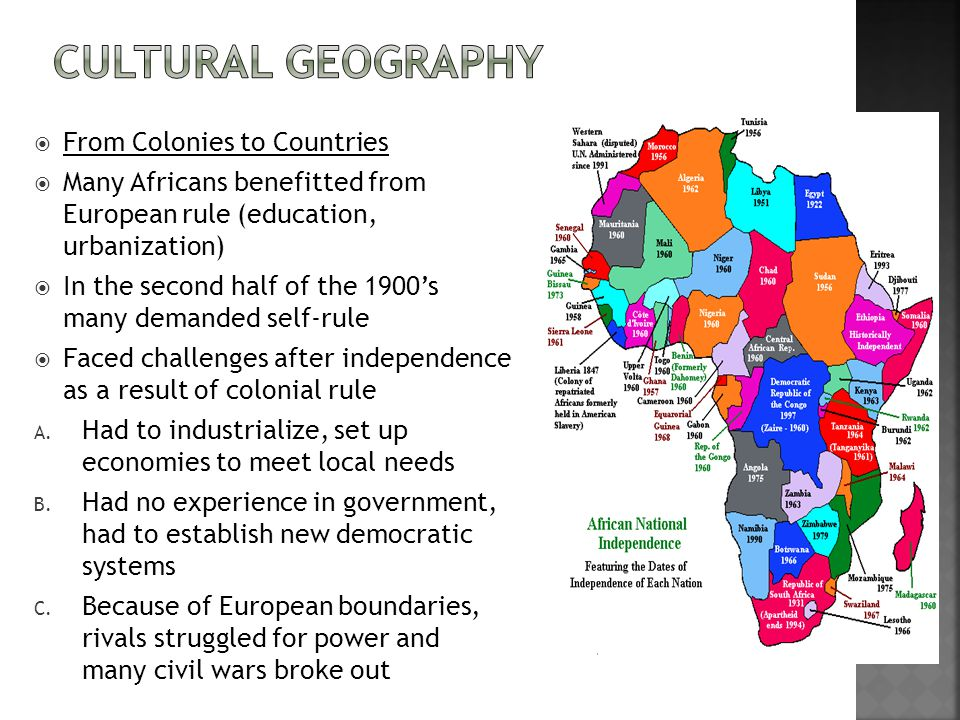 Cultural Geography From Colonies to Countries