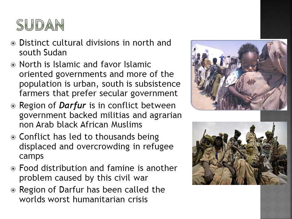 Sudan Distinct cultural divisions in north and south Sudan