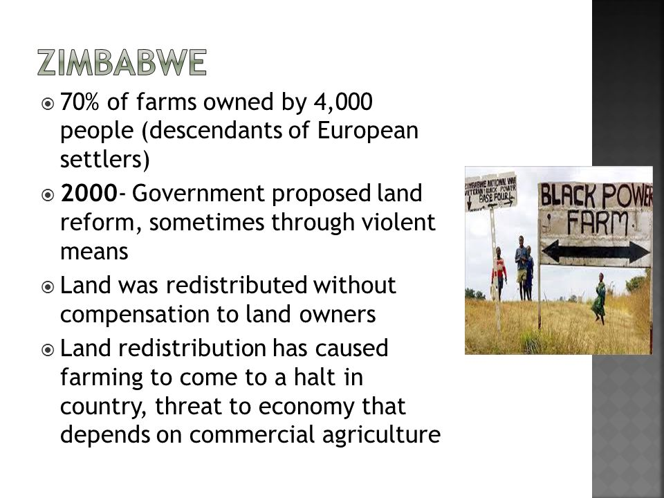Zimbabwe 70% of farms owned by 4,000 people (descendants of European settlers)