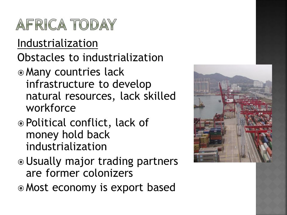 Africa Today Industrialization Obstacles to industrialization