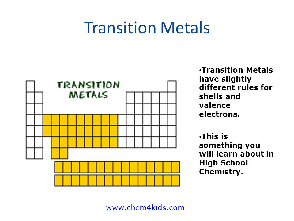 Transition Metals Transition Metals have slightly different rules for shells and valence electrons.