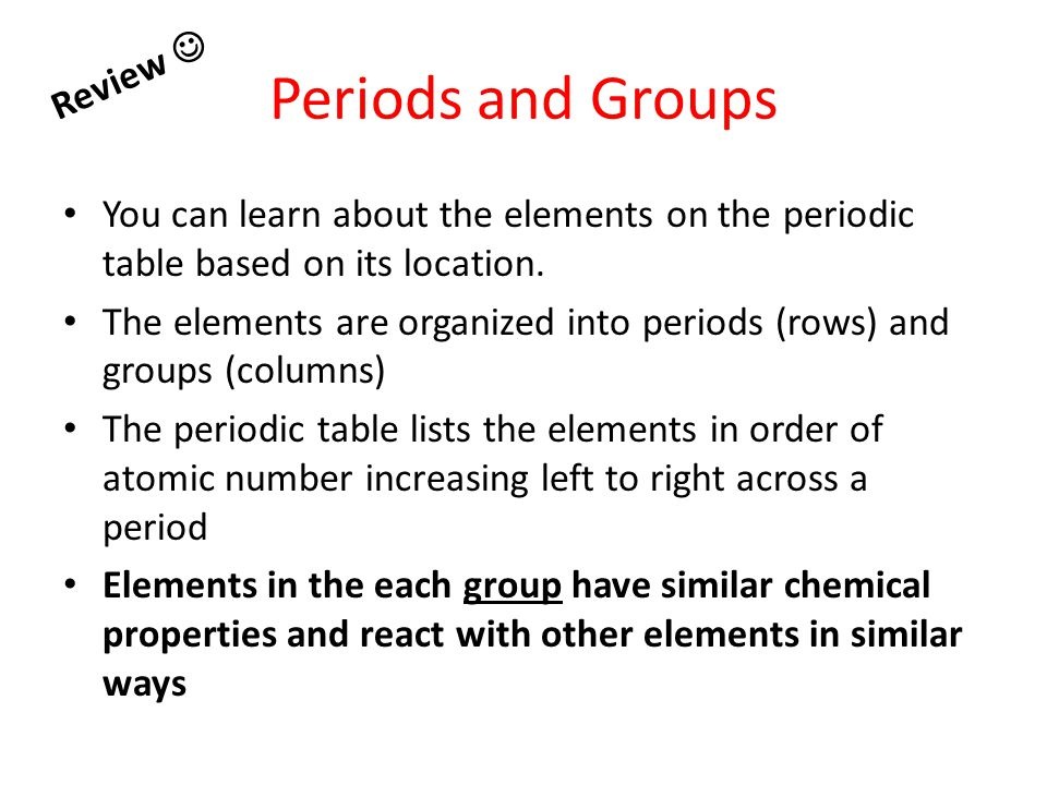 Periods and Groups Review 