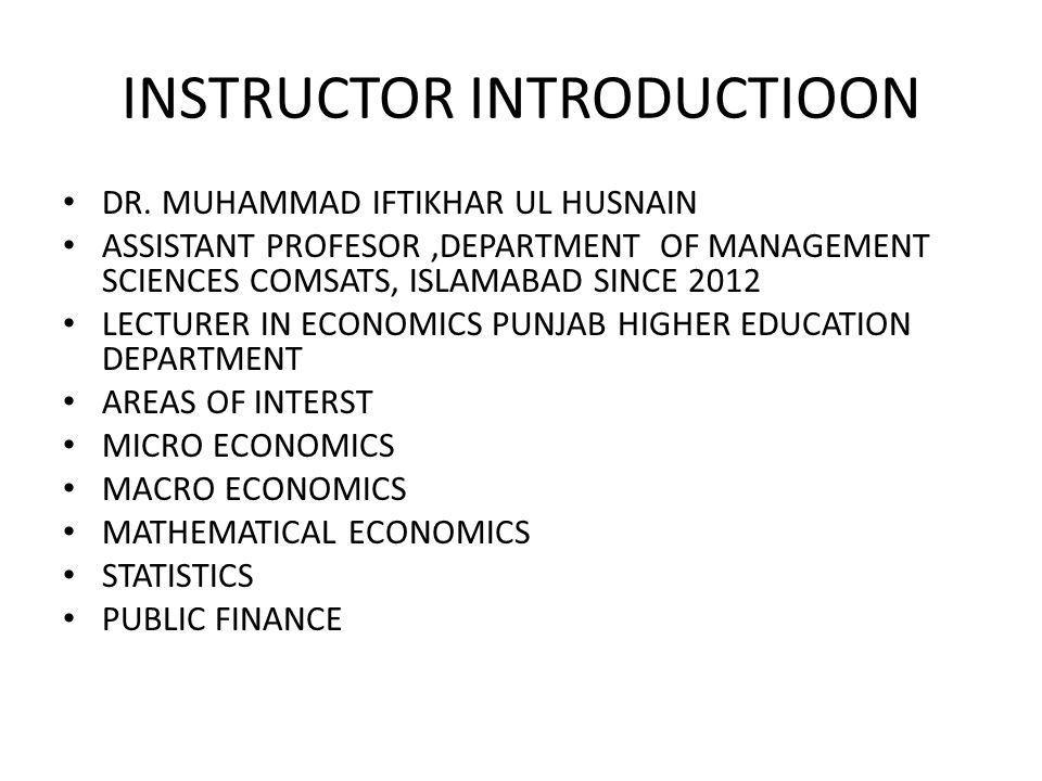 INSTRUCTOR INTRODUCTIOON
