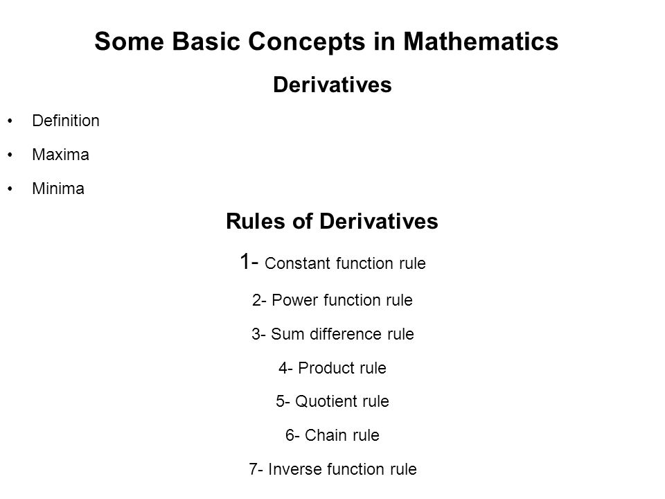 Some Basic Concepts in Mathematics