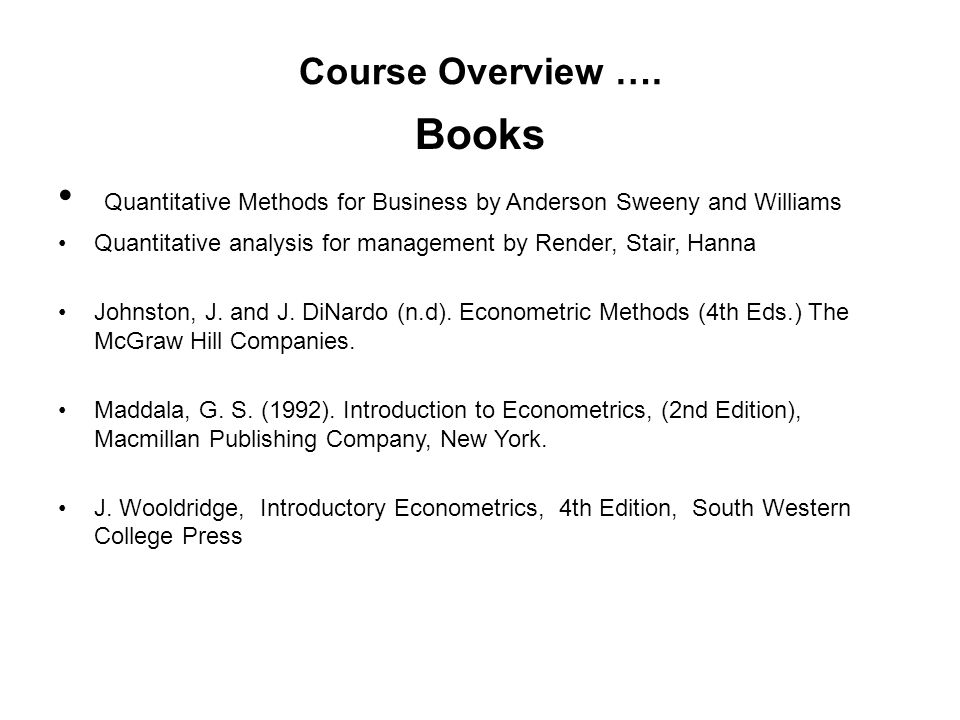 Quantitative Methods for Business by Anderson Sweeny and Williams