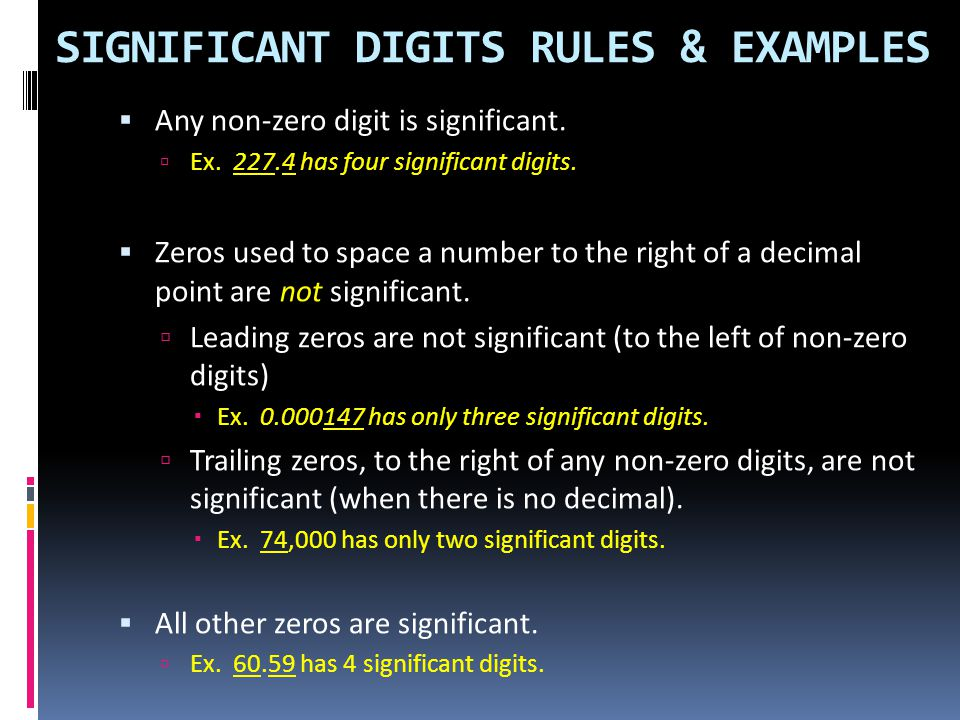SIGNIFICANT DIGITS RULES & EXAMPLES