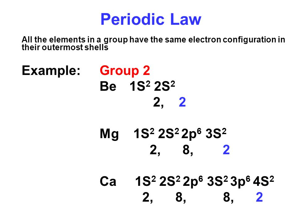 Periodic Law Be 1S2 2S2 2, 2 Mg 1S2 2S2 2p6 3S2 2, 8, 2