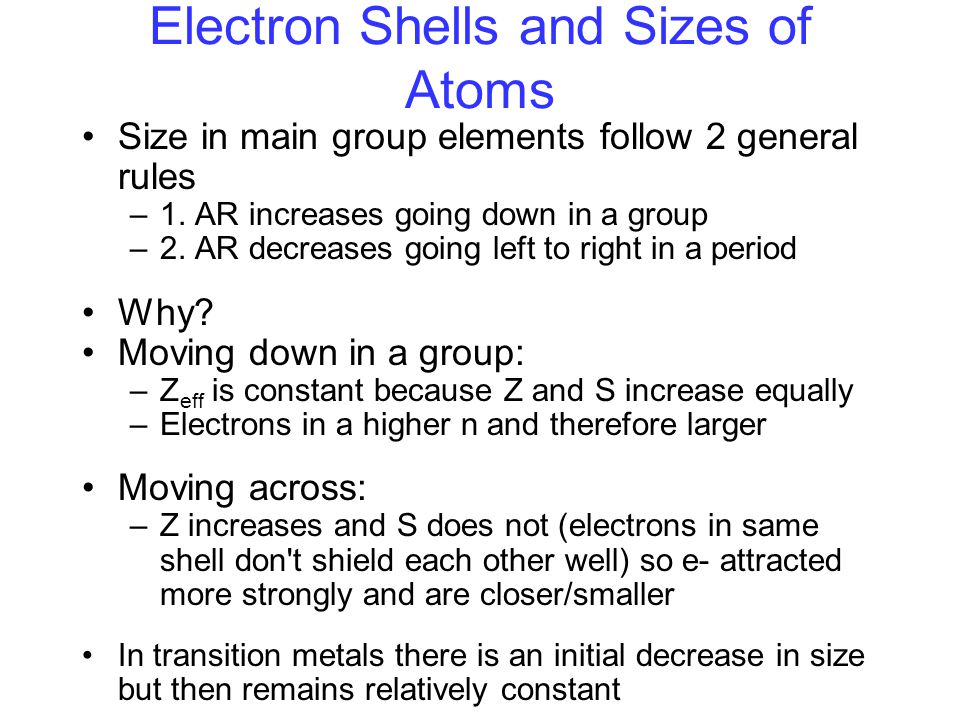 Electron Shells and Sizes of Atoms