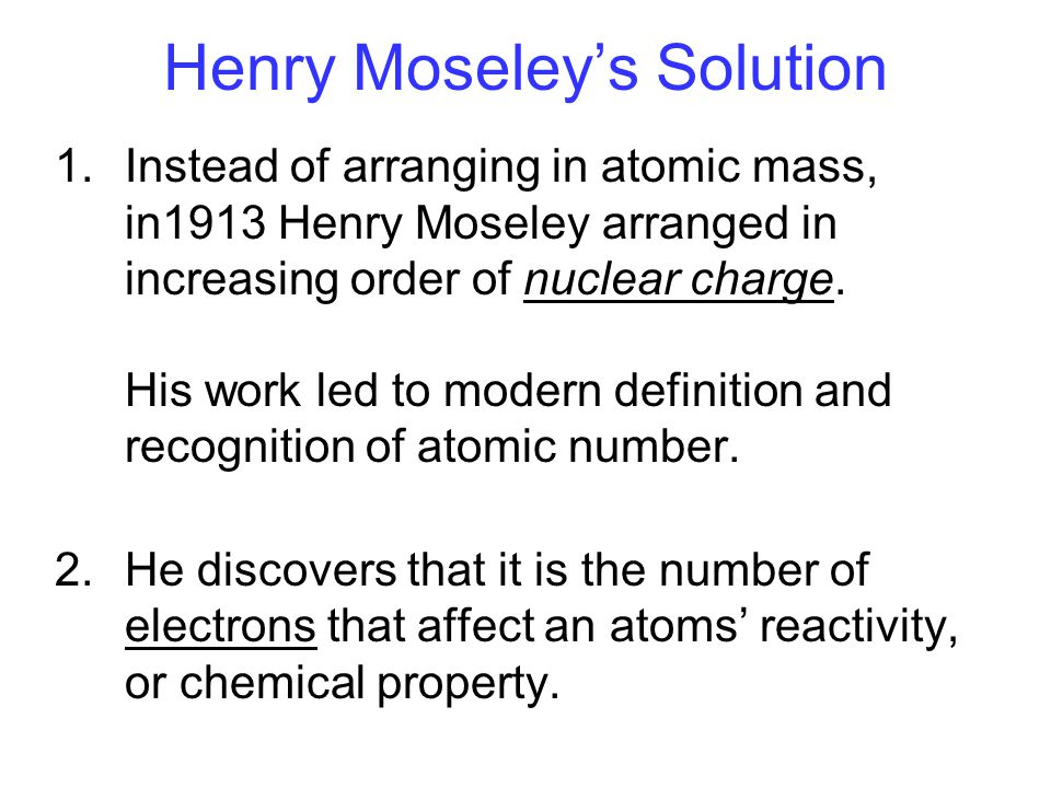 Henry Moseley's Solution