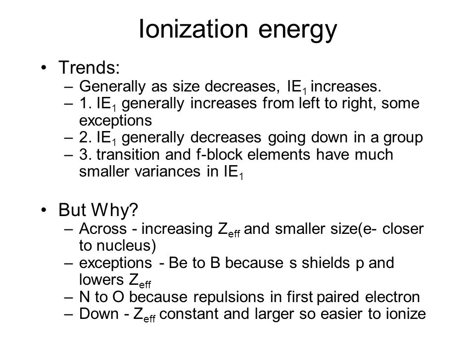 Ionization energy Trends: But Why