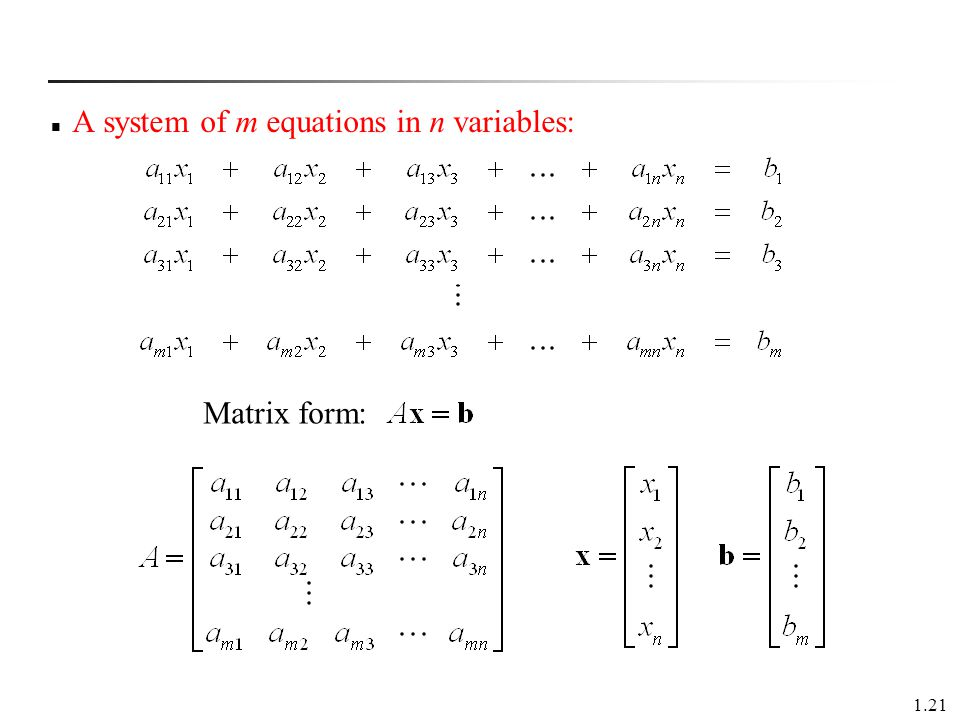 A system of m equations in n variables: