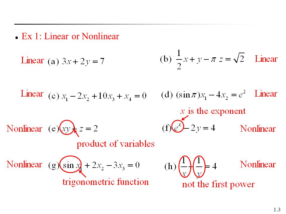 Ex 1: Linear or Nonlinear