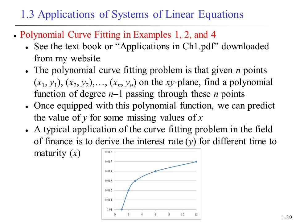 1.3 Applications of Systems of Linear Equations