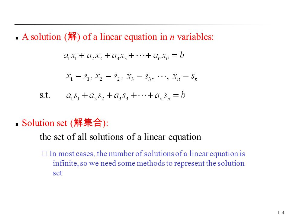 A solution (解) of a linear equation in n variables: