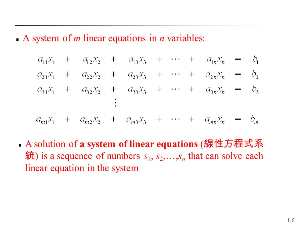 A system of m linear equations in n variables:
