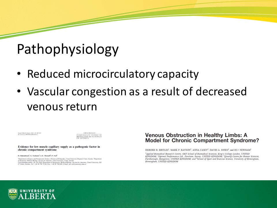 Pathophysiology Reduced microcirculatory capacity