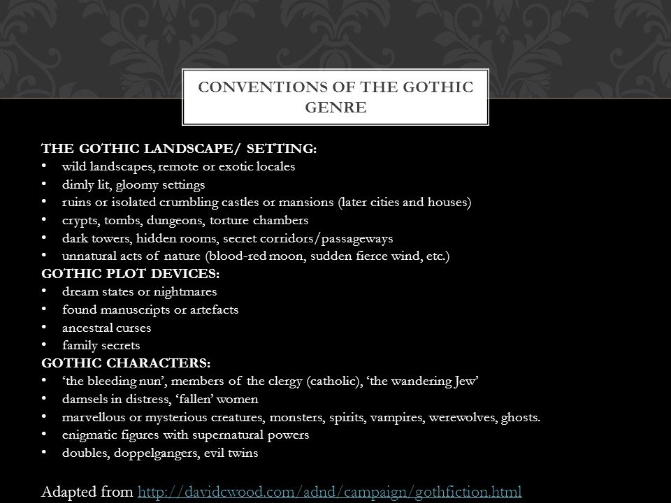 Conventions of the gothic genre