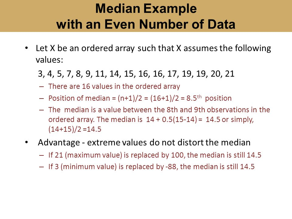 Median Example with an Even Number of Data