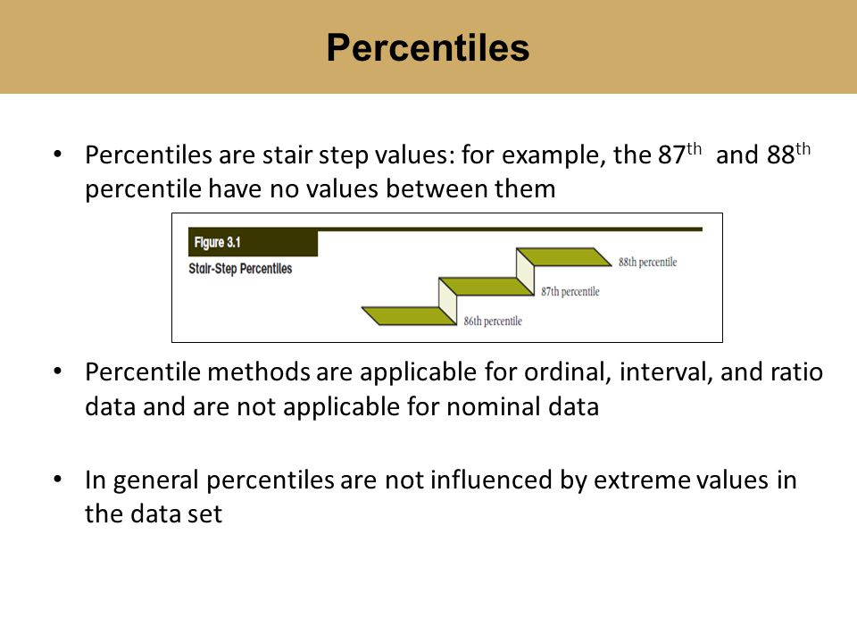 Percentiles Percentiles are stair step values: for example, the 87th and 88th percentile have no values between them.