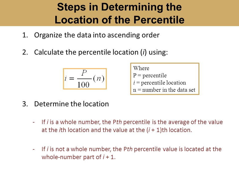 Steps in Determining the Location of the Percentile