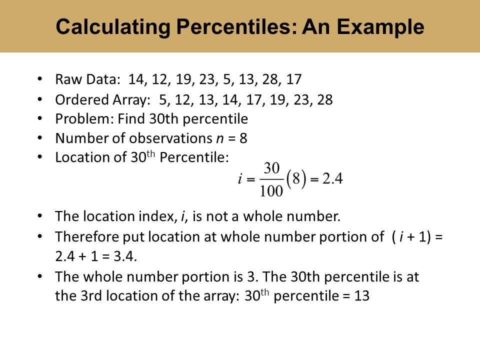 how to get percentile in statistics