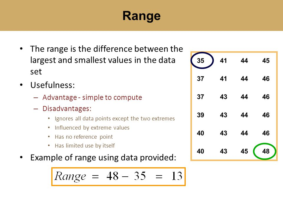 Range The range is the difference between the largest and smallest values in the data set. Usefulness: