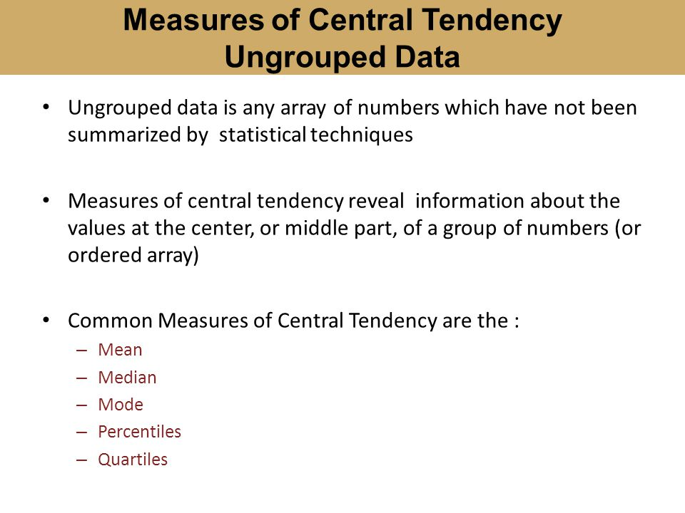 Measures of Central Tendency Ungrouped Data