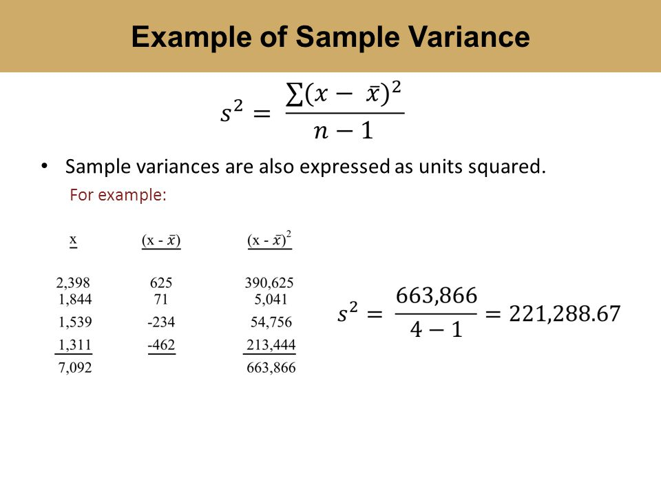 Example Of Sample Variance